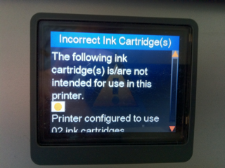 Incorrect Ink Cartridge