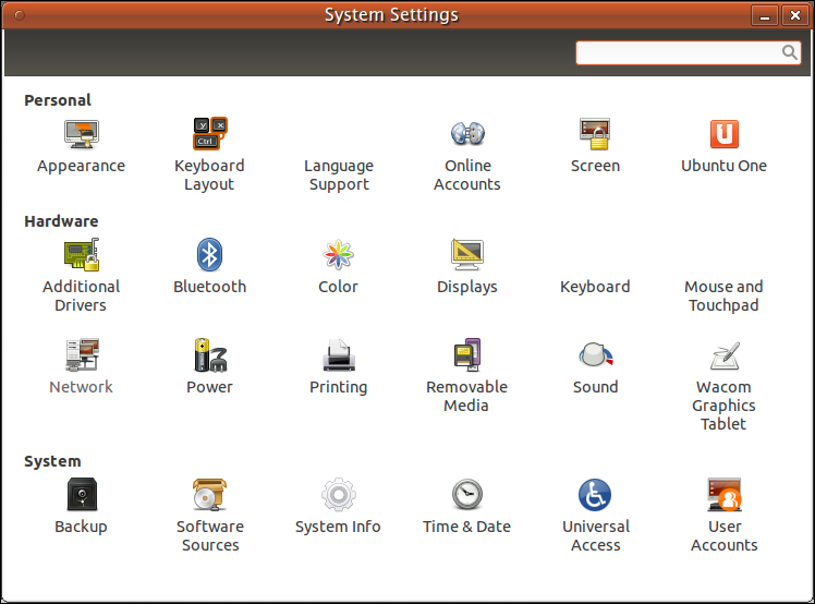 System Settings Pane of Ubuntu 11.10